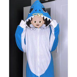 Urban Heritage Oversized Blue & White Shark Onesie